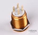 Commutateur de bouton poussoir plat personnalisé par 19mm en métal de caisse jaune d'UL RoHS de TUV
