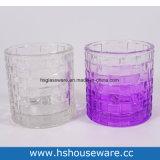 Design de tecelagem colorida titulares de vela de vidro