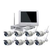 1つのNVRの全パッケージの監視サーベイランス制度の10.1インチの8CH WiFi CCTVキットHD 960p 8PCS 1.3MP IRの弾丸CCTVの防水機密保護の無線カメラBulitすべて