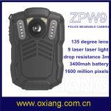 Tiempo largo granangular de HD que registra la cámara desgastada carrocería video portable de la policía