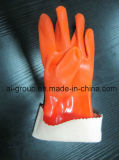 Gants de protection industrielle en PVC de couleur orange pour leur protection personnelle