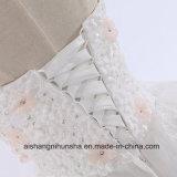 Luxuxblumen-Spitze-langes Endstück-Hochzeits-Kleid-Prinzessin Strapless Sleeveless