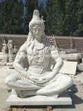 Vente chaude sculpté à la main de marbre blanc Lord Shiva statue indienne (sy-MS130)