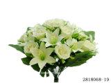 인공 적이고 Plastic/Silk Flower 로즈 또는 Lily Mixed 부시 (2818065-19)