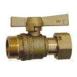 El ángulo F/tuerca giratoria Contador de agua de la válvula de bola de latón