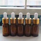 Frasco de petróleo essencial de vidro ambarino do bujão de borracha quadrado