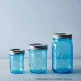 Commerce de gros de couleur bleue 4oz-16oz verre Marson jar pour le stockage