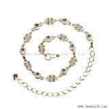 Gold-und Silberrhinestone-Kristalltaillen-Hip Kettenmetallriemen