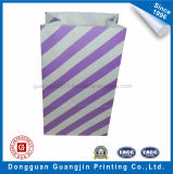 Color viola Stripe Printed Paper Food Packaging Bag con Serrated Top Edge