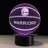 NBA Golden State Warriors3d Basket-ball de changement de couleur de lumière de nuit 7 LED lampe de table