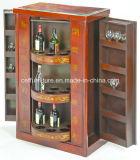 Het antieke Chinese Kabinet van de Wijn van het Leer van Azië Rode Beweegbare