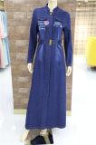 Style chaud Manchon long maxi lavés blue denim tenue décontractée pour les femmes