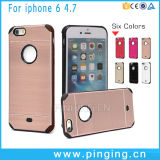 Caja dura aplicada con brocha del teléfono del metal para el iPhone 6/6s más