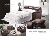 Sofá-cama em pele marrom de 3 lugares