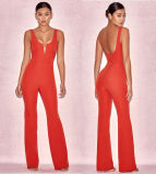 Rode Sexy Jumpsuit met Misstap Collarless Jumpsuit