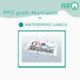 Rpg-54 resistente al agua en blanco sintético del rollo de papel para etiquetas y etiquetas