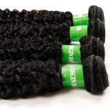 ペルーのねじれたカールを編むRemyの黒い人間の毛髪