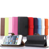 Teléfono celular de la caja del cuero Monedero plegable para iPhone 6