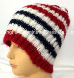縞の暖かい方法帽子の帽子の冬の編む帽子(Jhb038)