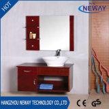 Nueva cabina de cuarto de baño de madera montada en la pared con el lavabo de cerámica