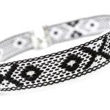 حبك بيضاء أسود [هندمد] هندسيّة أسلوب خانق عقد