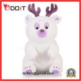 Brinquedo branco do urso da peluche do luxuoso da rena com pata do bordado