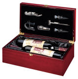 Коробка подарка представления вина двойника отделки рояля Rosewood деревянная с инструментами