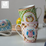 Diseño creativo de la taza de cerámica de la impresión de la etiqueta de la fábrica de China de la promoción