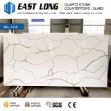 Brames de pierre de quartz de Calacatta de qualité supérieur pour le panneau de modèle/mur de cuisine/partie supérieure du comptoir avec la surface solide Polished