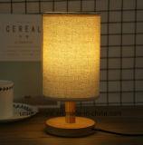 DIY paño de lino de la luz de lámpara de escritorio de madera estilo nórdico ambiental