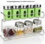 Estante de especia caliente del cristal de botellas de cristal de los conjuntos del PCS de la venta 9