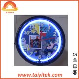 Fábrica de China modificada para requisitos particulares haciendo publicidad del reloj de pared de neón luminoso creativo