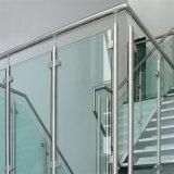 Barandilla clara movible del acero inoxidable de la escalera del vidrio Tempered del pasamano modelo