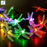 Luz de hadas de la cadena de la libélula solar del LED