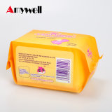 Serviette hygiénique respirable d'anion de qualité de coton avec l'ion négatif