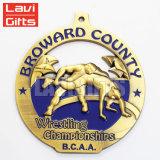 Médaille en bronze antique en alliage de zinc de récompense de la coutume 3D de promotion avec la bande