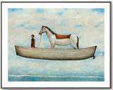 Het buitensporige Witte Schilderen van de Kunst van de Decoratie van het Paard en van de Jongen met Houten Frame