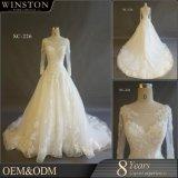 Vestido de casamento Appliqued da luva 2018 laço longo com o vestido nupcial do trem longo