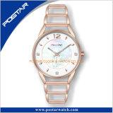 Concha de perla natural marque el esqueleto de la banda de acero inoxidable oro rosa de moda señoras reloj de pulsera