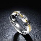 De Ring van de Zilveren bruiloft van de Diamant van het Roestvrij staal van de Mens van de Juwelen van de manier