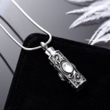 New Vintage Stainless Steel Cylinder Cremation Urn Pendant for Memorial