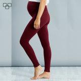 Alta maternidad negra llana cómoda respirable caliente Legging de la cintura