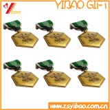 De aangepaste Medaille van het Gouden Plateren van het Metaal van de Legering van het Zink met Embleem