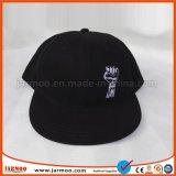 Algodón negro 6 Panel Baseball Cap Snapback