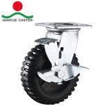 Usage intensif avec frein du côté de roulettes en caoutchouc en fonte