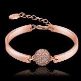 Bijou d'imitation de bracelet de Rhinestone plaqué par or de Rose de modèle de mode