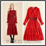 Späteste Form-Frauen-Kleidung-rote Rüsche-Berühmtheits-Butike-langes Maxi Abend-Kleid