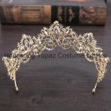 De barokke Tiara van het Kristal van de Tiara's van de Kroon van het Bergkristal van de Luxe Grote Bruids Lichte Gouden voor de Kroon van de Bruid (EC13)