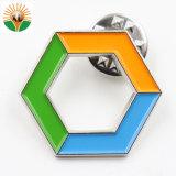 円形の整形ボタンのバッジの折りえりピン