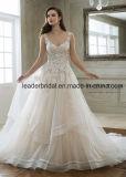 Perlando o baile de finalistas nupcial veste o vestido de casamento Ivory cor-de-rosa E1825 do laço